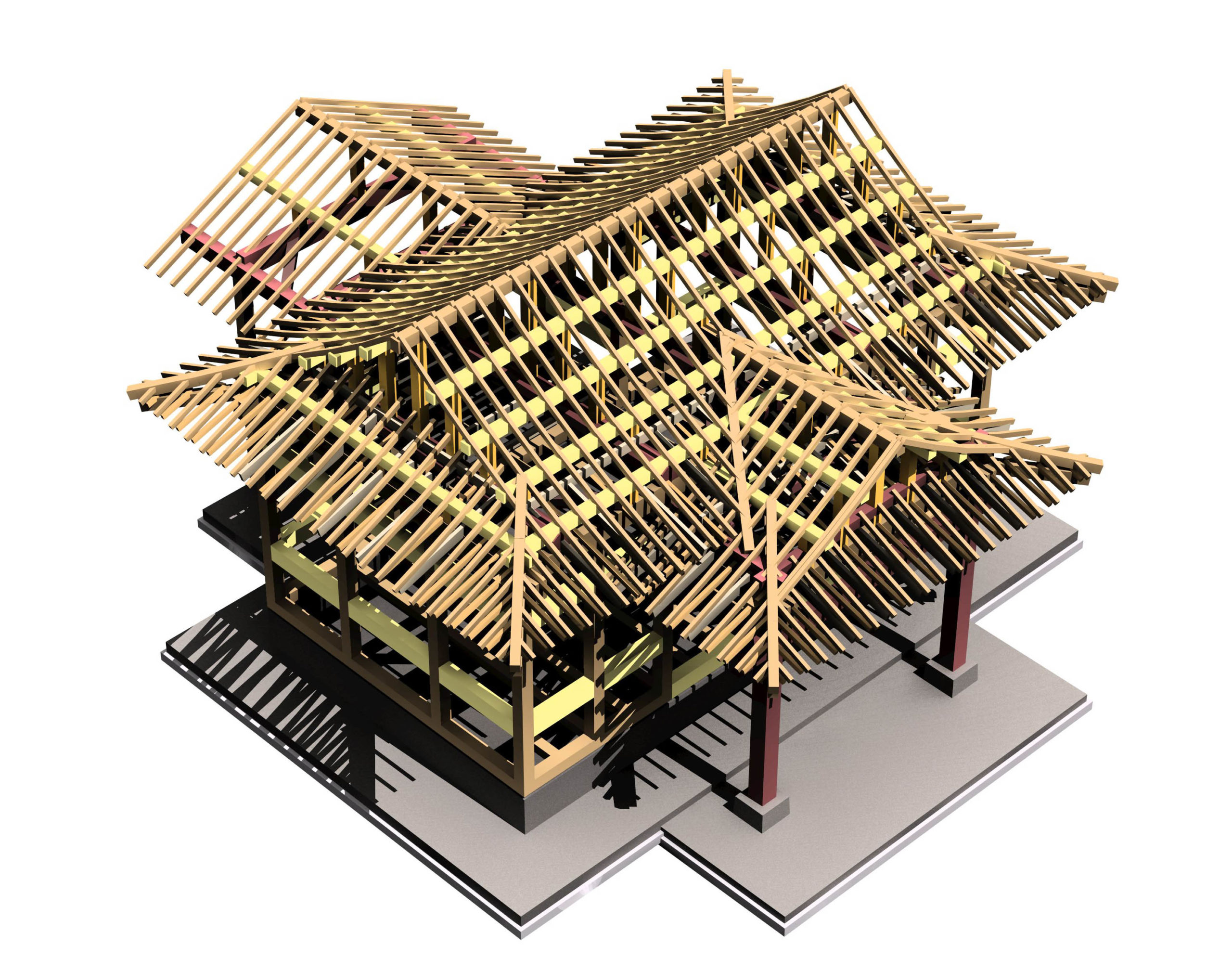小山神社拝殿増築工事構造パース