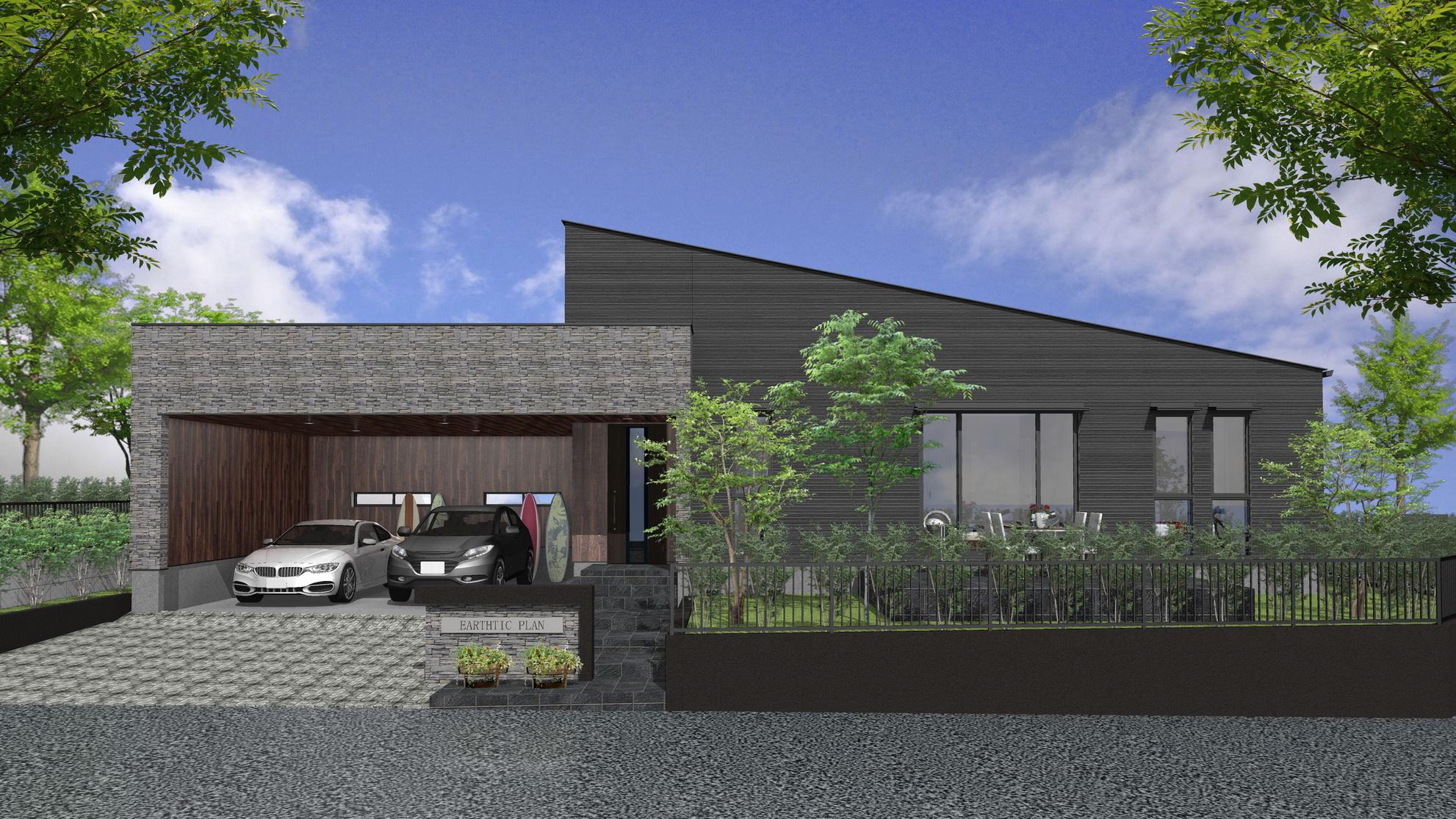 学術研究都市に建つインナーガレージ付平屋住宅