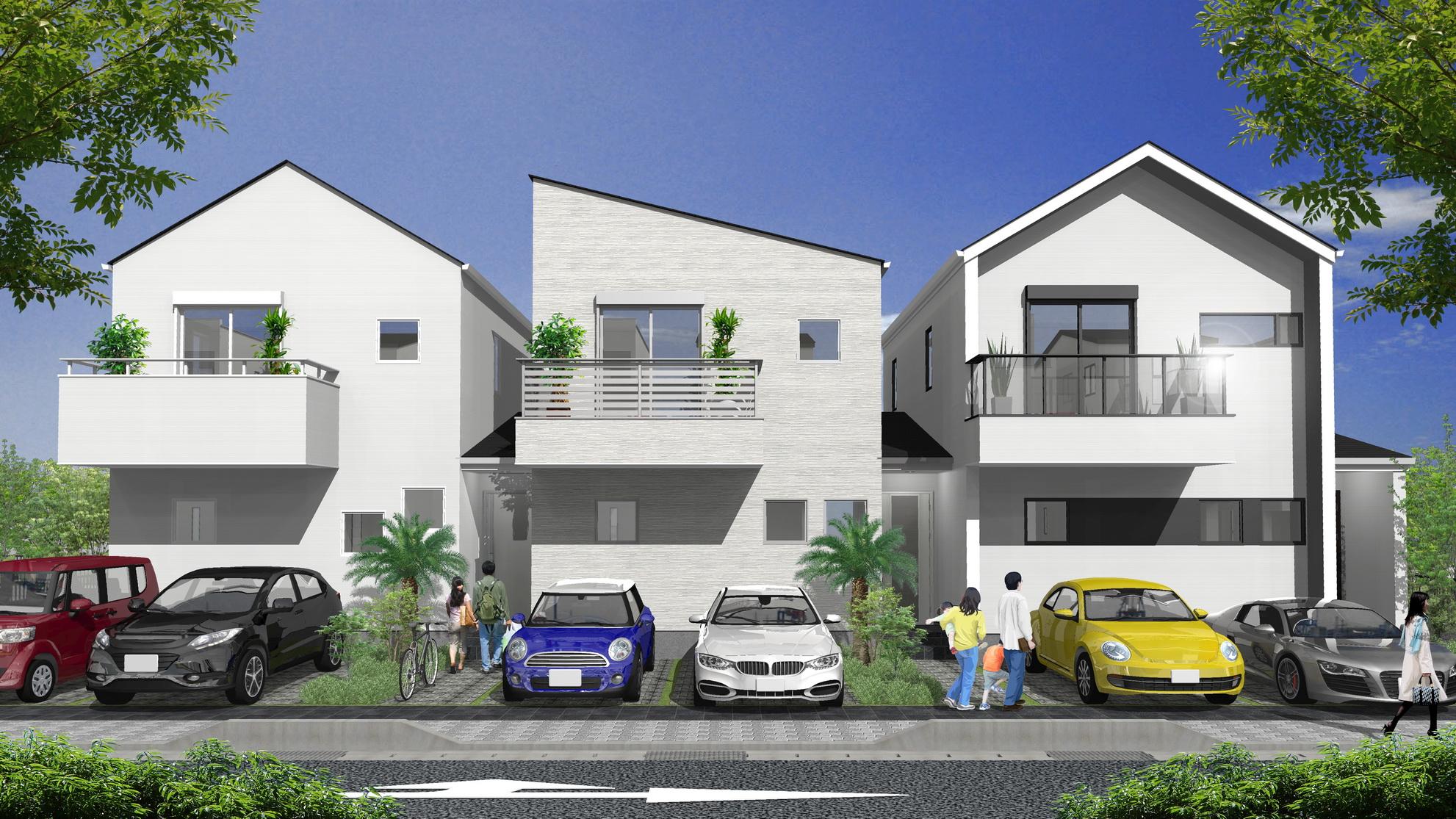沖縄県東風平にて建築中の分譲タウンハウス
