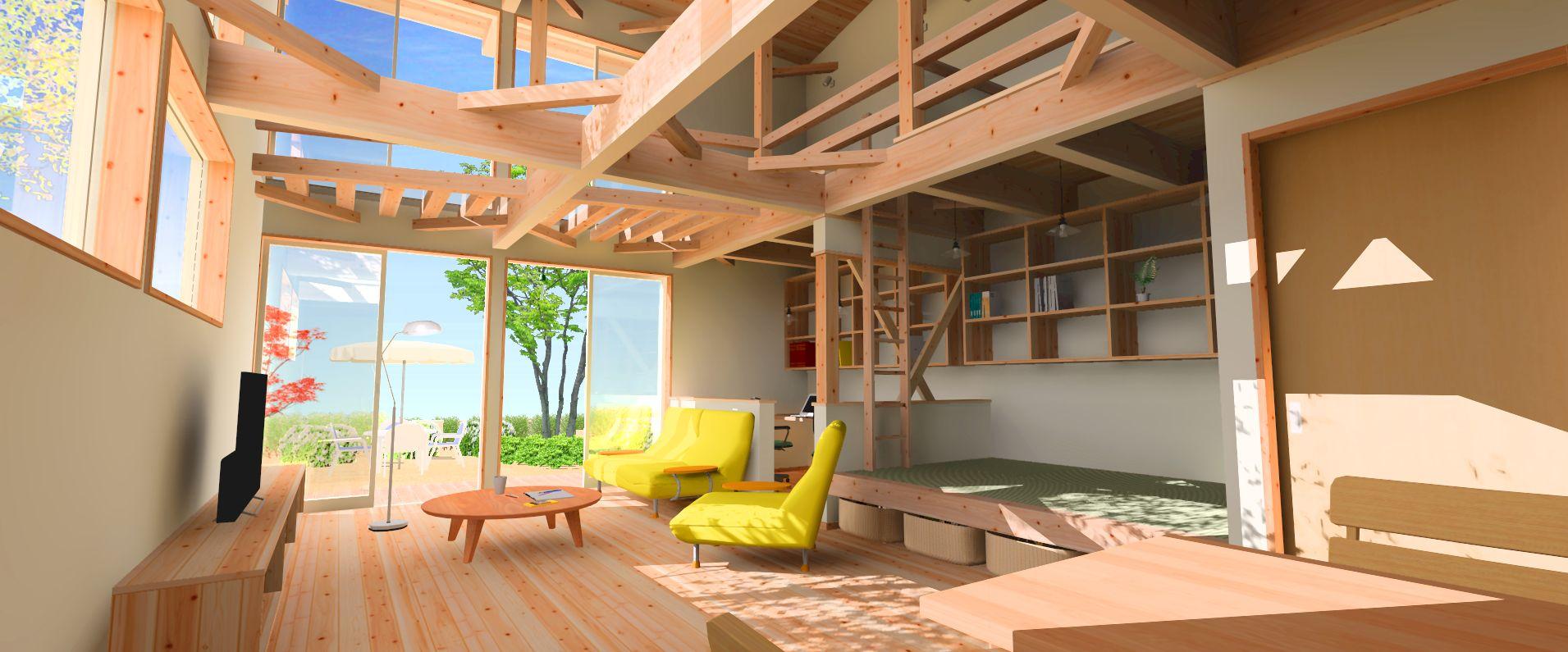木組の楽しい気な空間、生活、暮らし、、、