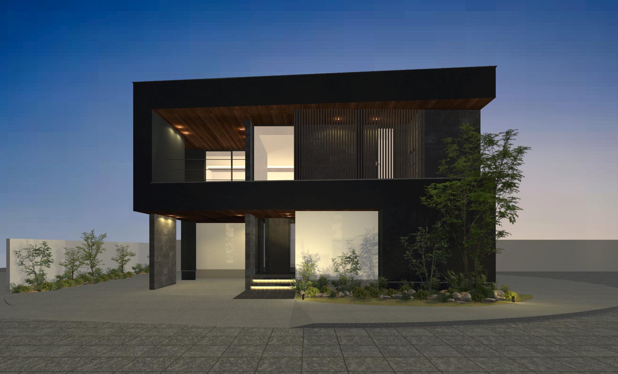 夜景に映える邸宅
