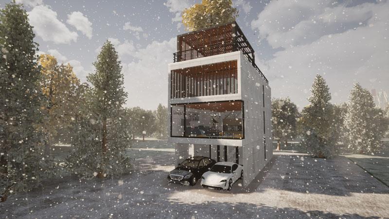 雪の中の都心型戸建