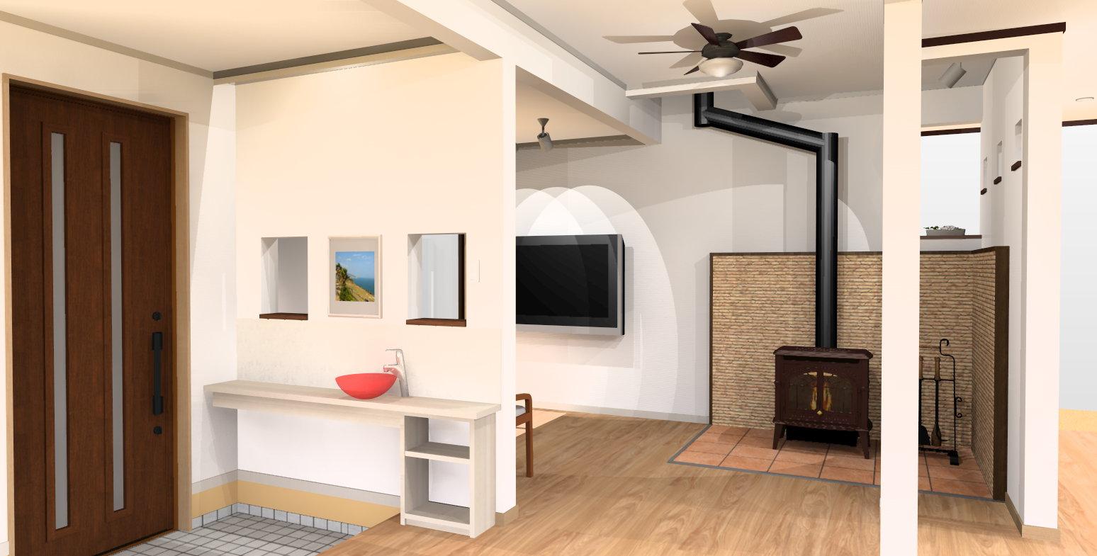薪ストーブの部屋