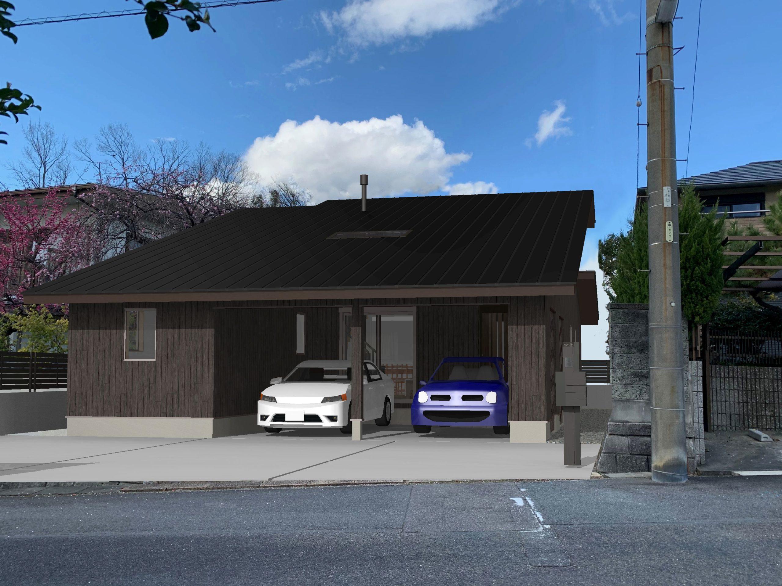 車庫一体平屋住宅