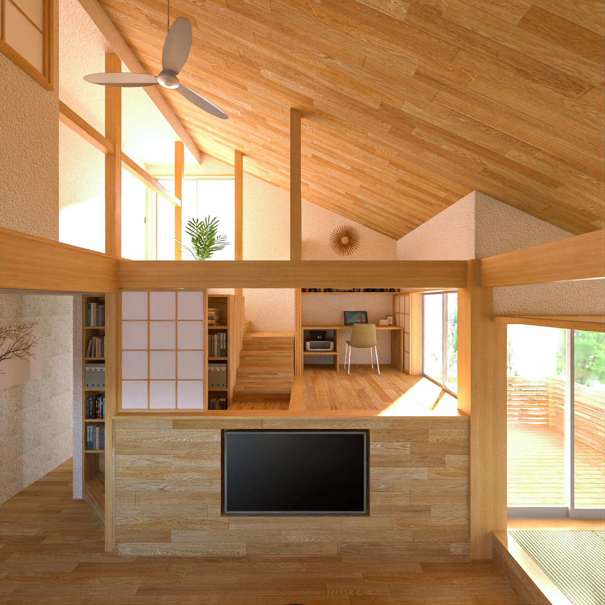 戸建住宅のリノベーション案-デスクスペース